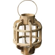 Creative Co-Op Simply Natural Wood w/ Glass Lantern