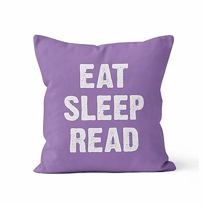 Ziya Blue Eat Sleep Read Throw Pillow; 16'' H x 16'' W x 3'' D