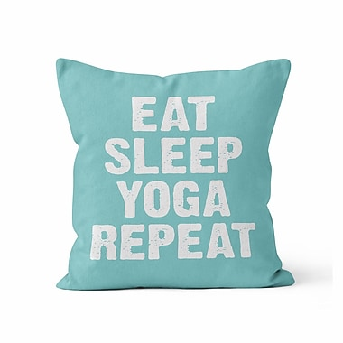 Kalilaine Creation Eat Sleep Yoga Repeat Throw Pillow; 18'' H x 18'' W x 3'' D
