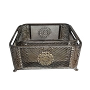 Jeco Inc. Ornate Metal 2 Piece Basket Set; Silver