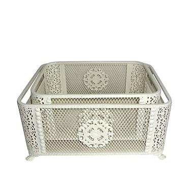 Jeco Inc. Ornate Metal 2 Piece Basket Set; White