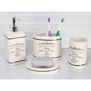 Home Basics Paris 4-Piece Bathroom Accessory Set; Gray