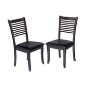 TTPFurnish Sturdy Side Chair (Set of 2); Dark Gray