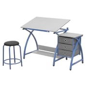 Offex Comet 3 Piece Drafting Table Set; Blue