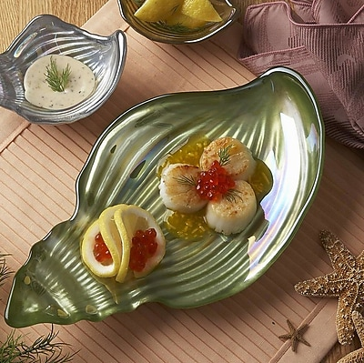 Red Pomegranate Conch Shell Platter; Green