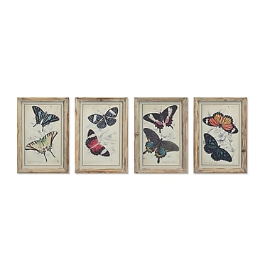 Melrose Intl. Butterfly 4 Piece Framed Graphic Art on Wood Set