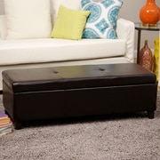 Warehouse of Tiffany Sharon Faux Leather Storage Bench; Brown