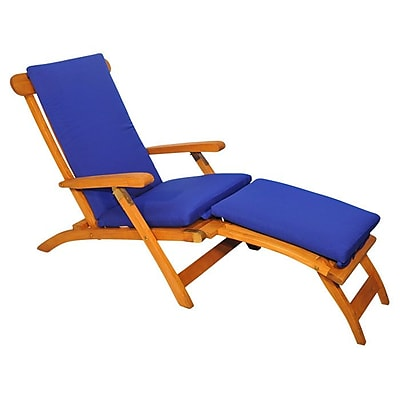 Regal Teak Streamer Outdoor Teak Lounger; True Blue