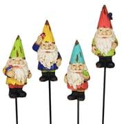 Exhart Gnome Pot 4-Piece Garden Stake Set