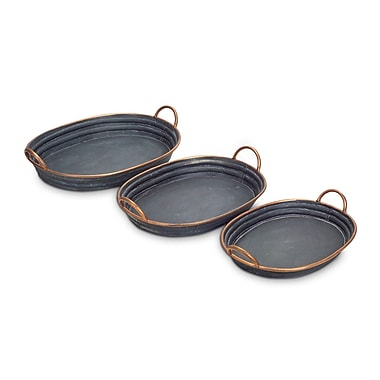 Melrose Intl. Oval 3 Piece Accent Tray Set
