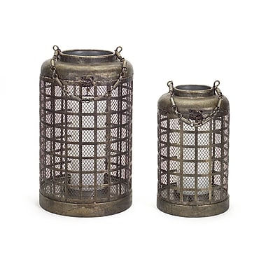 Melrose Intl. 2 Piece Metal Lantern Set