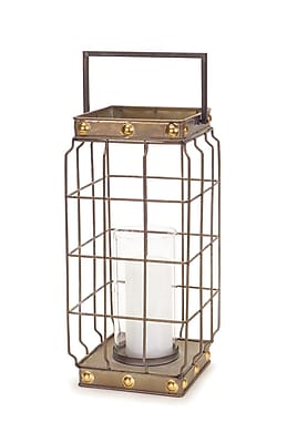 Melrose Intl. Open Metal/Glass Lantern