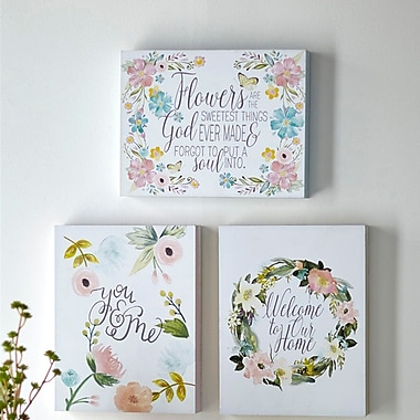 Melrose Intl. Flowers w/ Quote 3 Piece Graphic Art on Wood Set
