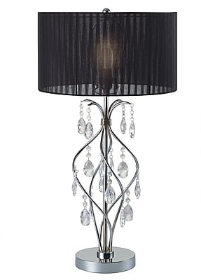 Major-Q Faux Crystal Spiral 31'' Table Lamp; Black