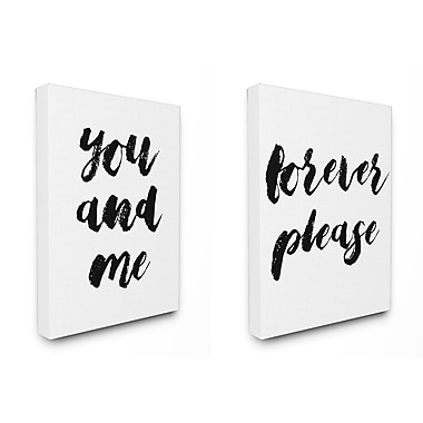 Stupell Industries You and Me Forever Please Typography 2pc Stretched Canvas Wall Art Set