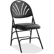 Samsonite Fanback Vinyl Padded Folding Chair; Black by
