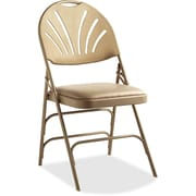 Samsonite Fanback Vinyl Padded Folding Chair; Neutral by