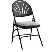 Samsonite Fanback Fabric Padded Folding Chair (Set of 4); Black/Gray
