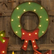 Glitzhome Marquee LED Lighted Wreath Sign Battery Operated Wall D cor