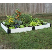 Frame It All Classic White Plastic Raised Garden; 8'' H x 48'' W x 86'' D
