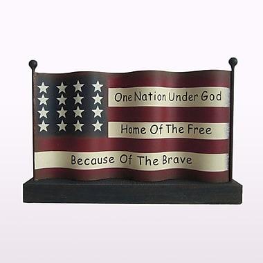 Glitzhome Rustic Iron/Wooden American Flag Patriotic Table Decor Sculpture