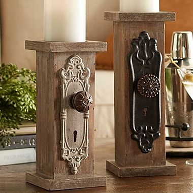 Melrose Intl. Door Knob Wood/Metal Candlestick Set