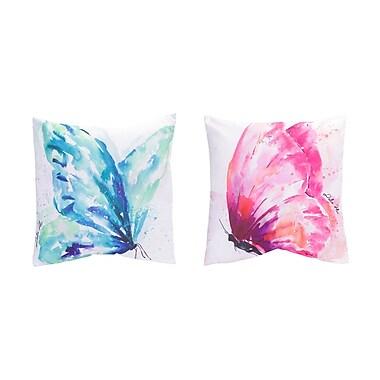 Melrose Intl. 2 Piece Butterfly Throw Pillow Set