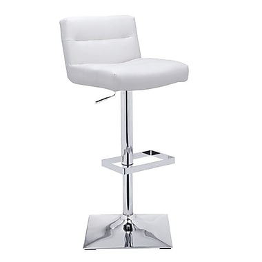 Sunpan Modern Urban Unity Stafford Adjustable Height Swivel Bar Stool w/ Cushion; White