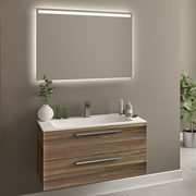 Orren Ellis Raevon 40'' Single Bathroom Vanity w/ Mirror; Matte Walnut
