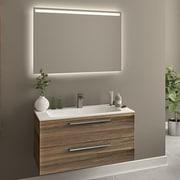 Orren Ellis Raevon 40'' Single Bathroom Vanity w/ Mirror; Matte Walnut