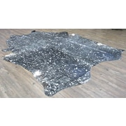 Rug Factory Plus Shiny Premium Hand-Woven Silver/Black Area Rug