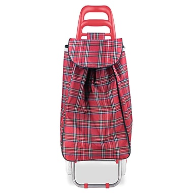 Home Basics Plaid Shopping Utility Cart; Red
