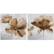LaKasaLLC 'Flower and Nature' 2 Piece Oil Painting Print Set on Canvas in Brown/Gray