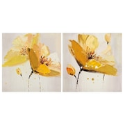LaKasaLLC 'Flower and Nature' 2 Piece Oil Painting Print Set on Canvas in Yellow/Red