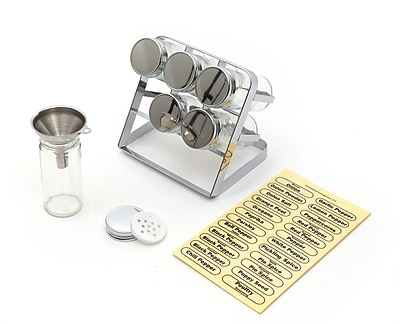 RSVP-INTL Compact 6-Jar Free-Standing Spice Rack w/