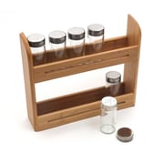 RSVP-INTL Bamboo 6-Jar Wall-Mounted Spice Rack