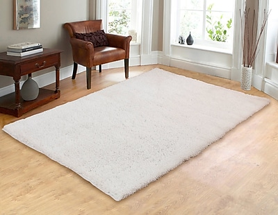 Chesapeake Hand-Woven Shag White Area Rug; 7'3'' x 9'3''