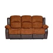 Madison Home USA Traditional 2 Tone Recliner Sofa; Brown