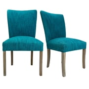 Sole Designs Julia Lucky Spring Seating Double Dow Upholstered Side Chair (Set of 2); Turquoise