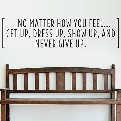 Wallums Wall Decor Never Give Up Quote Wall Decal; Chocolate Brown