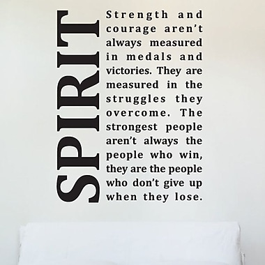 Wallums Wall Decor Spirit Strength and Courage Quote Wall Decal; Gray