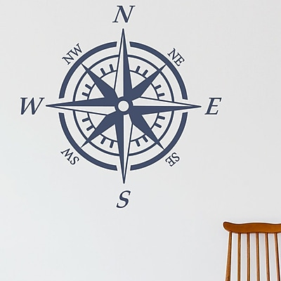Wallums Wall Decor Nautical Compass Wall Decal; Gray