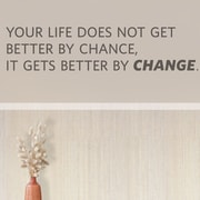 Wallums Wall Decor Your LIfe Does Not Get Better by Chance Quote Wall Decal; Black
