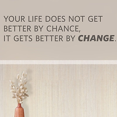 Wallums Wall Decor Your LIfe Does Not Get Better by Chance Quote Wall Decal; Brown