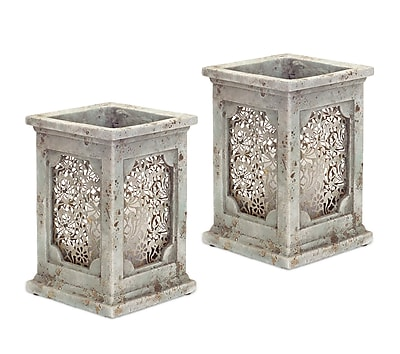 Melrose Intl. Stone-Look Metal Candle Holder (Set of 2); 9.5'' H x 7.5'' W x 7.5'' D