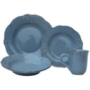 Melange 32 Piece Antique Edge Stoneware Dinnerware Set; Aqua