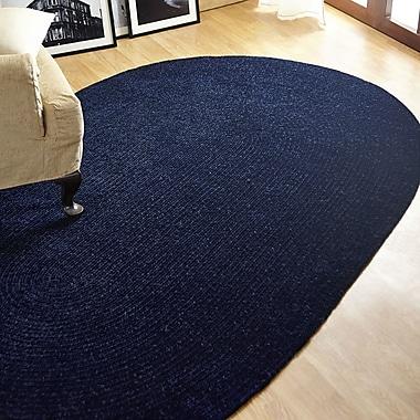 Better Trends Chenille Reversible Dark Blue Indoor/Outdoor Area Rug; Oval 2'6'' x 4'2''