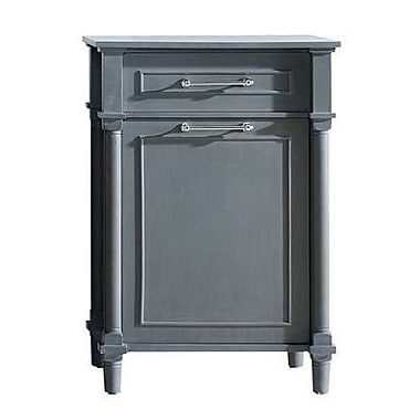 LUXE by Deluxe Vanity Continental Hamper 1 Drawer and 1 Door Accent Cabinet; Gray