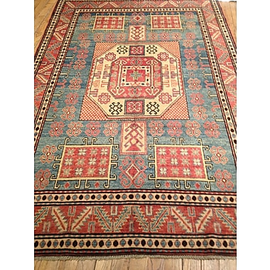 Pasargad Kazak Hand-Knotted Blue/Red Area Rug