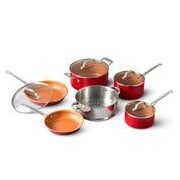Gotham Steel 10 Piece Red Cookware Set Ti Cerama